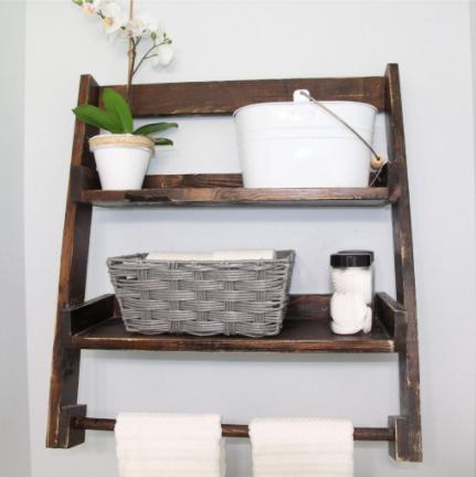 DIY Over The Toilet Shelf Bathroom Storage Functional Decor