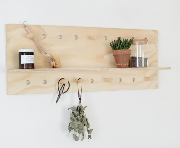 DIY pegboard shelf perfect weekend project wall decor