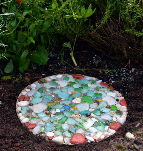 Homemade colorful sea glass stepping stone
