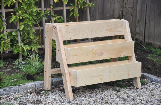 Homemade tiered strawberry vertical planter box for the garden