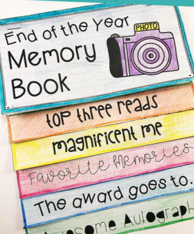 Memory book with text saying End of the year memory book, top three reads, magnificent me, favorite memories, the award goes to., awesome autograph