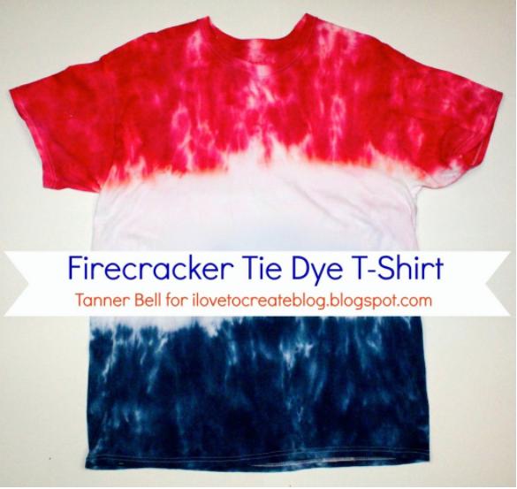 A colorful firecracker tie dye t-shirt craft project