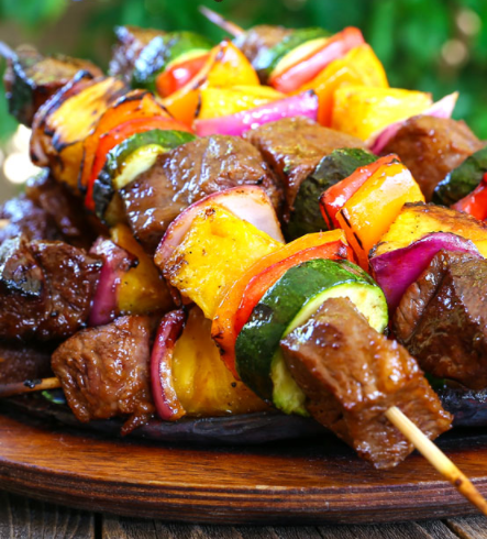 Grilled Hawaiian Beef Kabobs amazing to make during Father's day