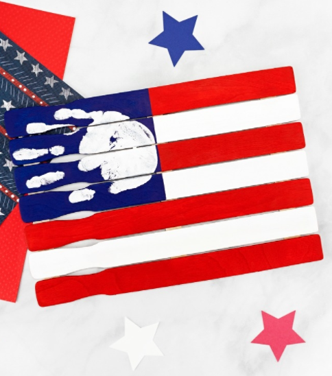 Handprint American flag craft holiday patriotic decor