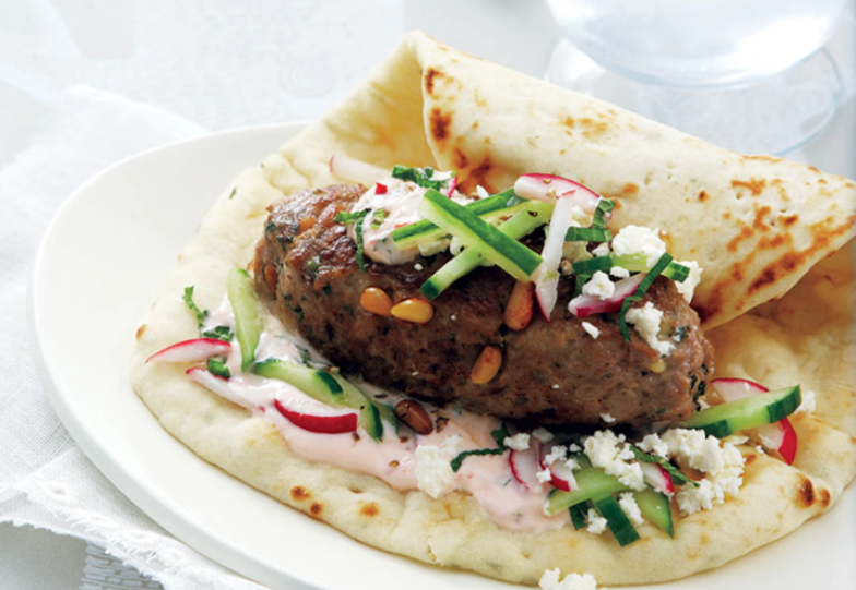 tasty lamb burgers topped with a sweet mint sambal.