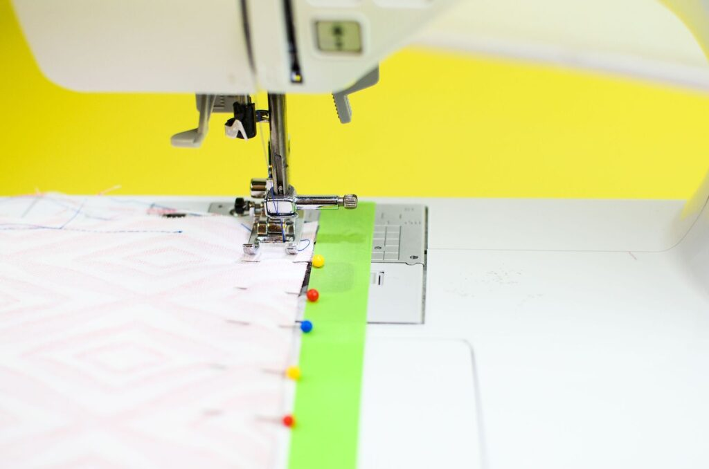 using masking tape or painter's tape to create a line to indicate seam allowance