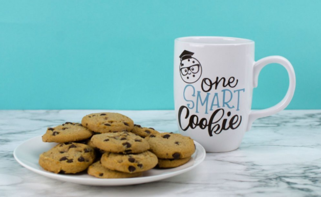 White mug with text saying one smart cookie