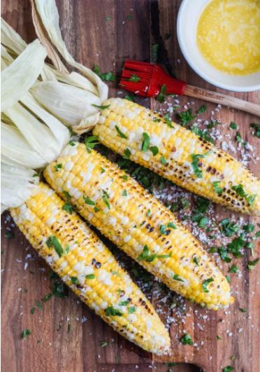 Grilled Corn with parmesan garlic rub