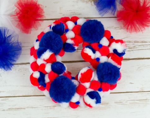 Cheap and easy to make patriotic pom pom wreath holiday decor craft