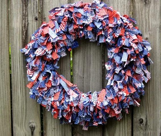 A patriotic rag wreath decor holiday craft