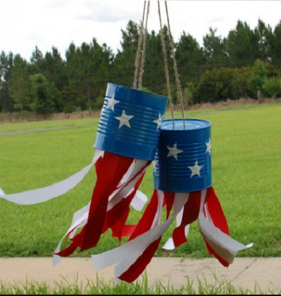 A cheap and easy to make patriotic tin can windsock recycled craft project