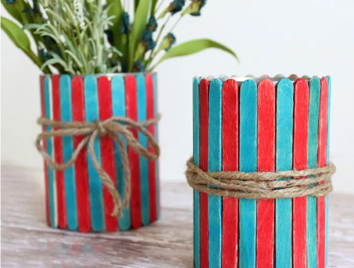 Popsicle stick vases 4th of july kids summer craft project