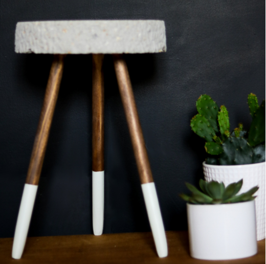 Easy to make raw edge concrete stand for eclectic plants