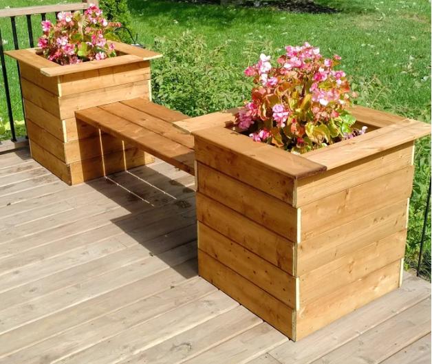 Porch and garden planter bench