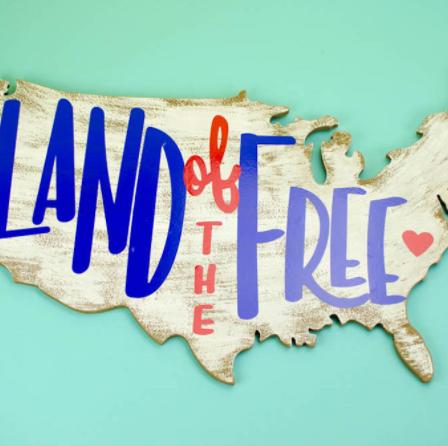 USA land of free plaque patriotic holiday craft