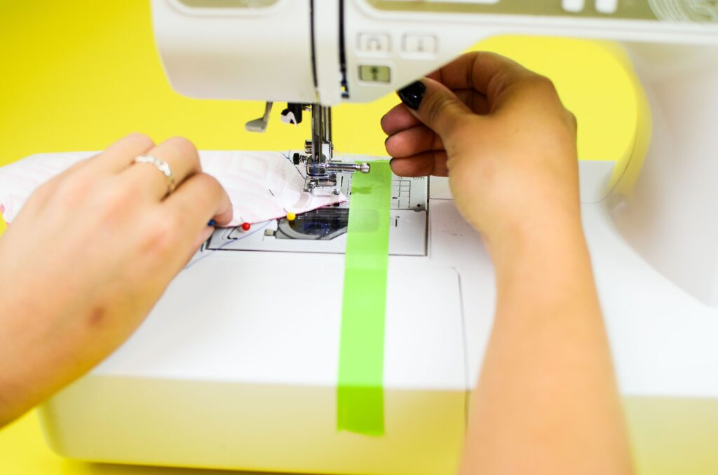 pivoting your fabric at the corners to allow for continued sewing