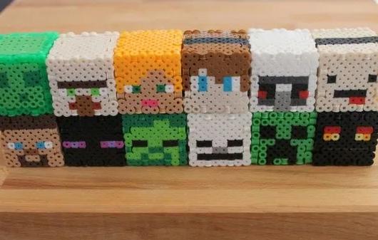 3D minecraft characters perler bead