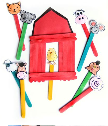 Big Red Barn Book Craft - Farm Animals Puppet Show For Kids