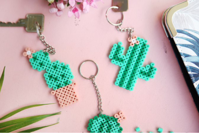 Cactus designed keychain made from perler bead
