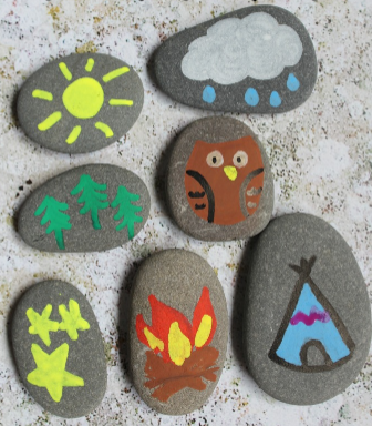 Seven stones that painted the camping story on them