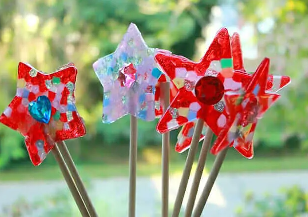 homemade fairy wand with piny beads craft for little girls