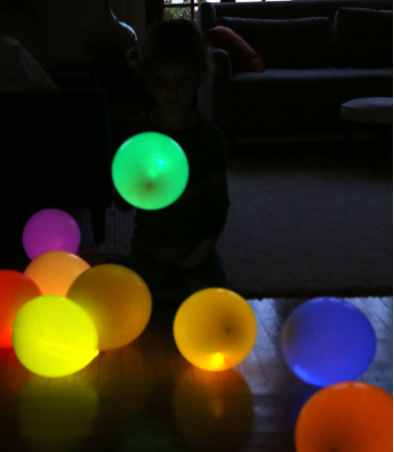 A colorful easy to make homemade glow stick balloons