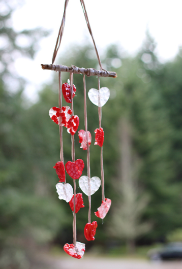 Valentine's day wind chime with melted bead crafts for kids
