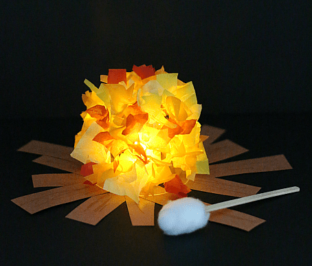 Glowing paper campfire craft