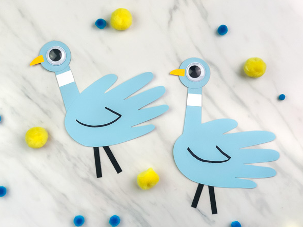 Mo Willems Inspired Handprint Pigeon Craft For Kids In The Classroom or Library