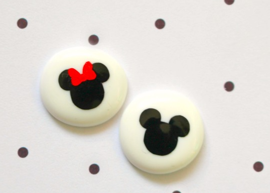 Mickey and Minnie earrings made form melted perler beads