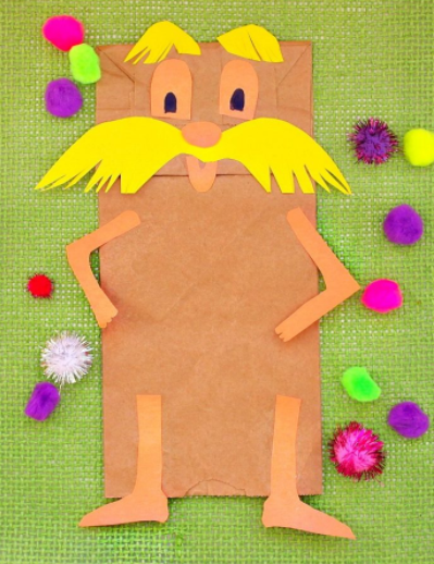 DR. SEUSS THE LORAX PUPPET CRAFT - Lorax and The Cat In The Hat