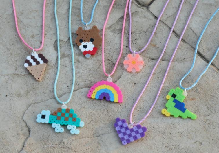 Perler bead necklaces, that has a cute pendants.