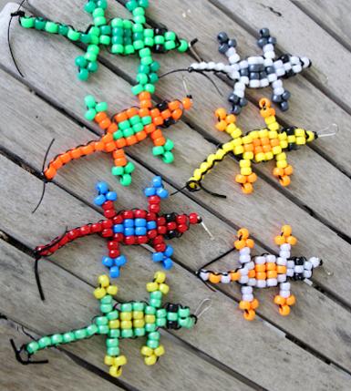Pony bead lizard colorful animal craft fun toy for kids