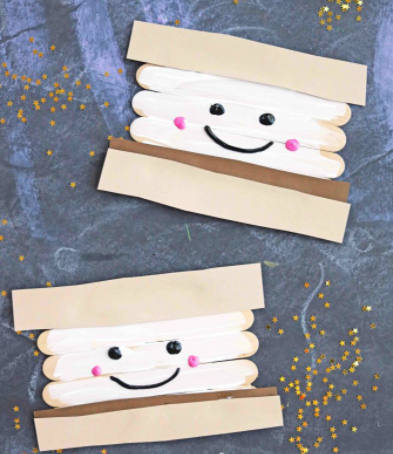 Super cute popsicle sticks smores perfect to make during camping