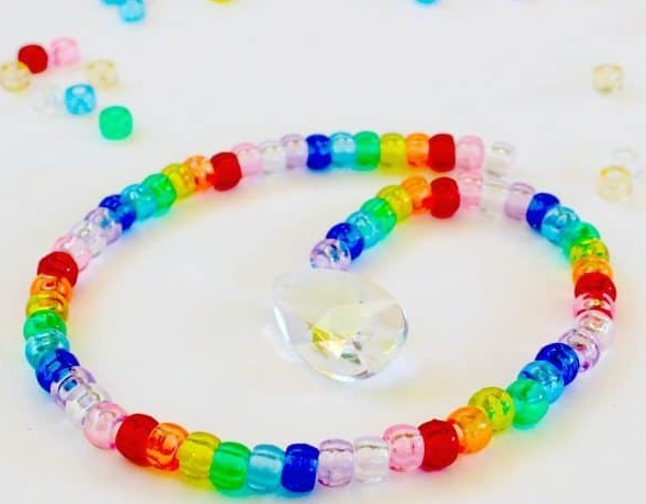 Colorful pony bead prism suncatcher fun steam craft activity for kids