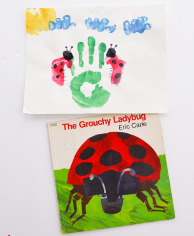 THE GROUCHY LADYBUG HANDPRINT CRAFT FUN ACTIVITY FOR KIDS INSPIRED BY ERIC CARLE