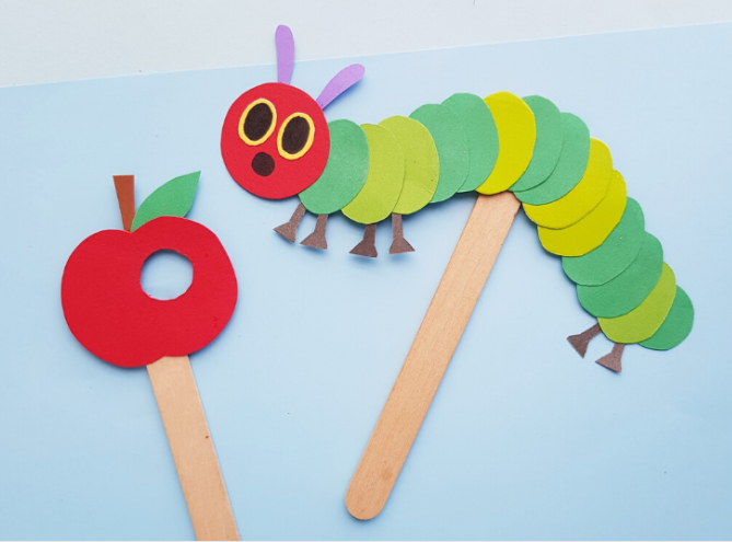 THE VERY HUNGRY CATERPILLAR PUPPET CRAFT FOR KIDS FANTASTIC BOOK