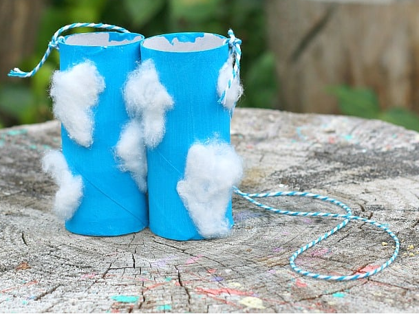 A set of color blue binoculars upcycled from toilet paper rolls