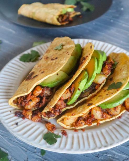 1-Pan vegan chorizo potato tacos savory meal under $4