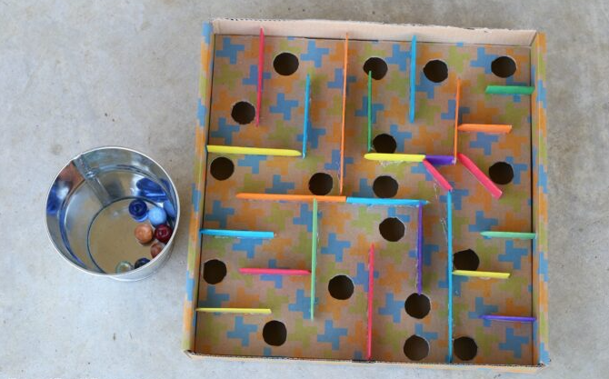 Board box marble labyrinth games engineering activity for kids