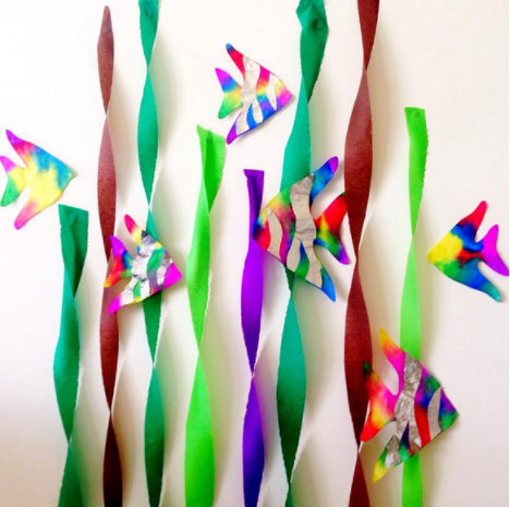 A coffee filter rainbow fish for kids craft