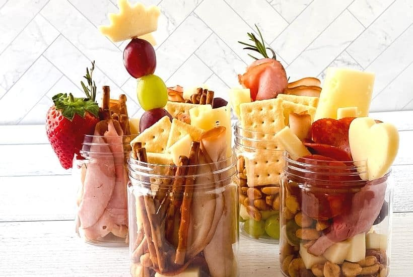 Jarcuterie mason jars are a fun alternative to charcuterie board for party appetizers