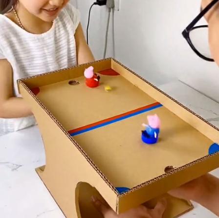 Cardbooker soccer table homemade toy for kids