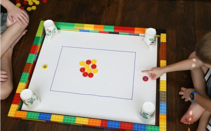 Homemade tabletop carrom games made of lego for kids