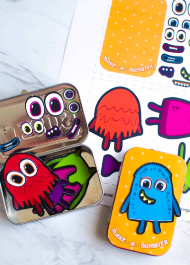 Homemade magnetic travel game make a monster kids activity