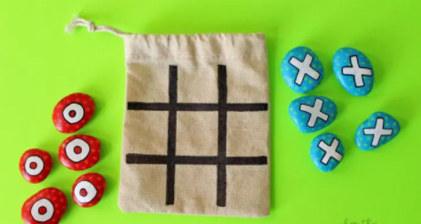 Homemade painted rock tic-toc-toe travel game on-the-go fun for kids