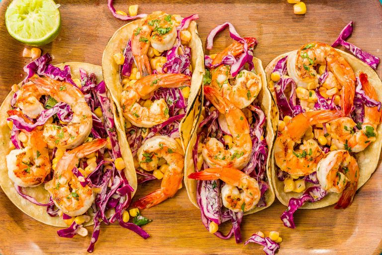 A delicious grilled shrimp tacos with sriracha slaw