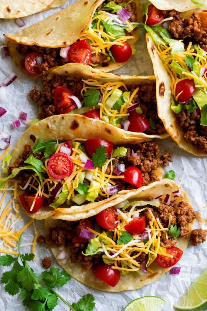Deliciously seasoned ground beef tacos in corn tortillas