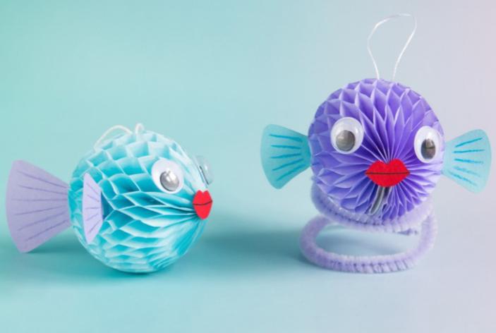 A cute honeycomb ball puffer fish craft for kids