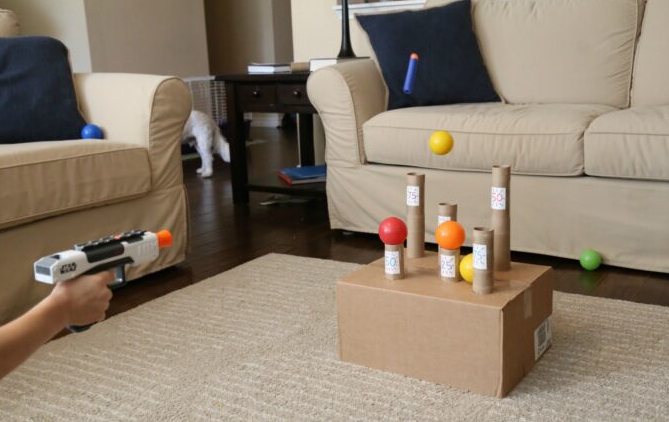 Recycle knock the balls down nerf target game fun kids activity